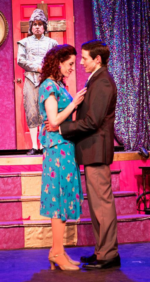 Anne (Elise Wulff) and Jean-Michel (Joe Mullin) share a tender embrace while Jacob (Scot Colford) observes in The Umbrella's La Cage Aux Folles (Photo Credit: Al Ragone)