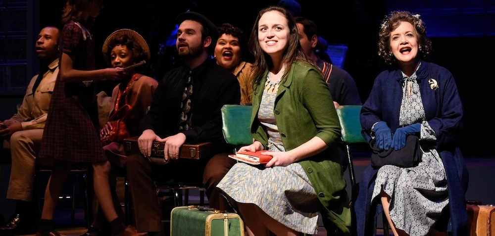 """Violet Karl (Alison McCartan*) and Old Lady (Kathy St. George*), along with the Company, sing """"On My Way"""" aboard a Greyhound Bus in SpeakEasy Stage Company's  Violet (Photo Credit:  Glenn Perry Photography ) (* Denotes a Member of Actors' Equity Association)"""
