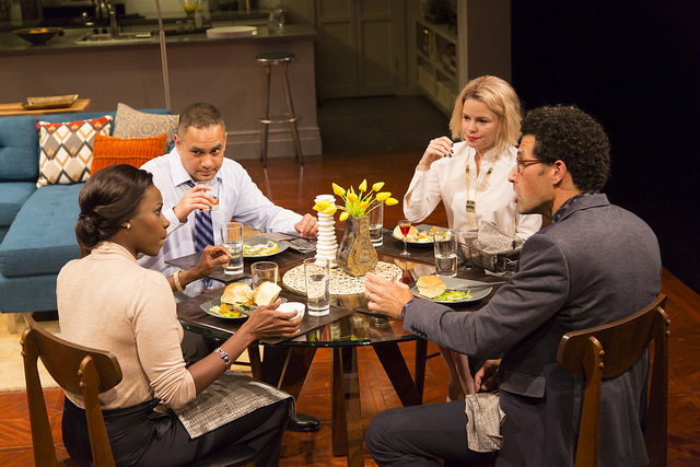 (Clockwise, from left): Jory (Shirine Babb*), Amir (Rajesh Bose*), Emily (Nicole Lowrance*), and Isaac (Benim Foster) are in for an unforgettable dinner party in Ayad Ahktar's  Disgraced  (Photo Credit: T. Charles Erickson) (* Denotes a Member of Actors' Equity Association).