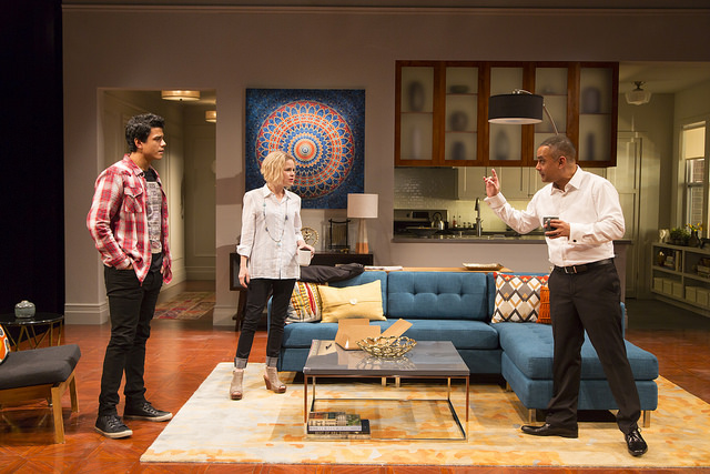 (From Left): Nephew Abe (Mohit Gautam*) and Emily (Nicole Lowrance*) listen to Amir (Rajesh Bose*) explain himself in Ayad Ahktar's  Disgraced  at the Huntington Theatre Company (Photo Credit: T. Charles Erickson) (* Denotes a member of Actors' Equity Association).