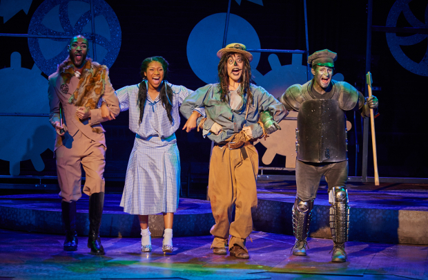 (From left to right): The Lion (Damien Norfleet*), Dorothy (Quiana Holmes), Scarecrow (Carl-Michael Ogle*), and Tinman (Justin Raymond Reeves) in Fiddlehead Theatre Company's The Wiz (Photo Credit: Matt McKee) (* Denotes a Member of Actors' Equity Association).