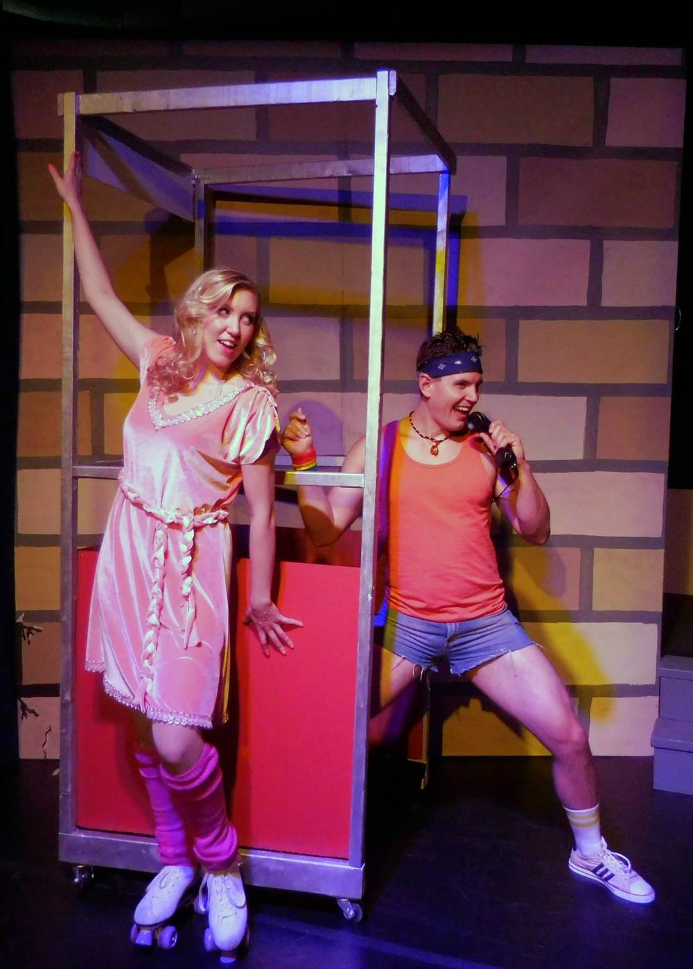 Kimberly Moller as Kira and Cody Ingram as Sonny Malone in Moonstruck Theater Company's Xanadu (Photo Credit: Christopher Brousseau).
