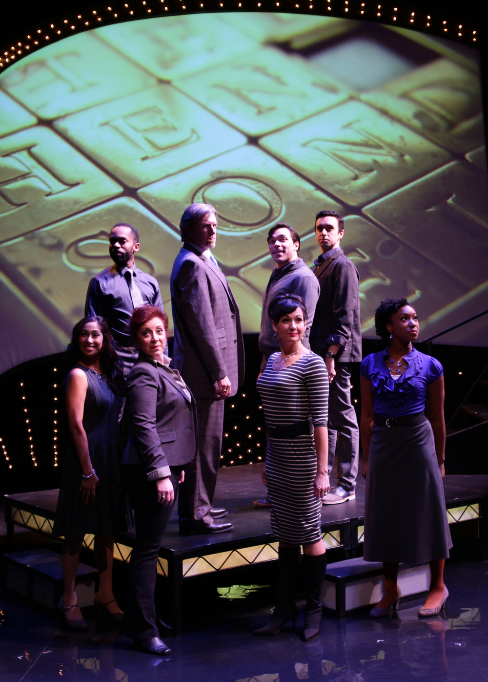 The ensemble of The Lyric Stage Company of Boston's  Sondheim on Sondheim  (Photo Credit: Mark S. Howard).