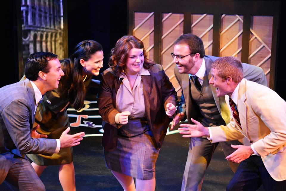 Some of the cast in The F.U.D.G.E. Theatre Company's  Merrily We Roll Along  (Photo Credit:   Matt Phillipps Photography  ).