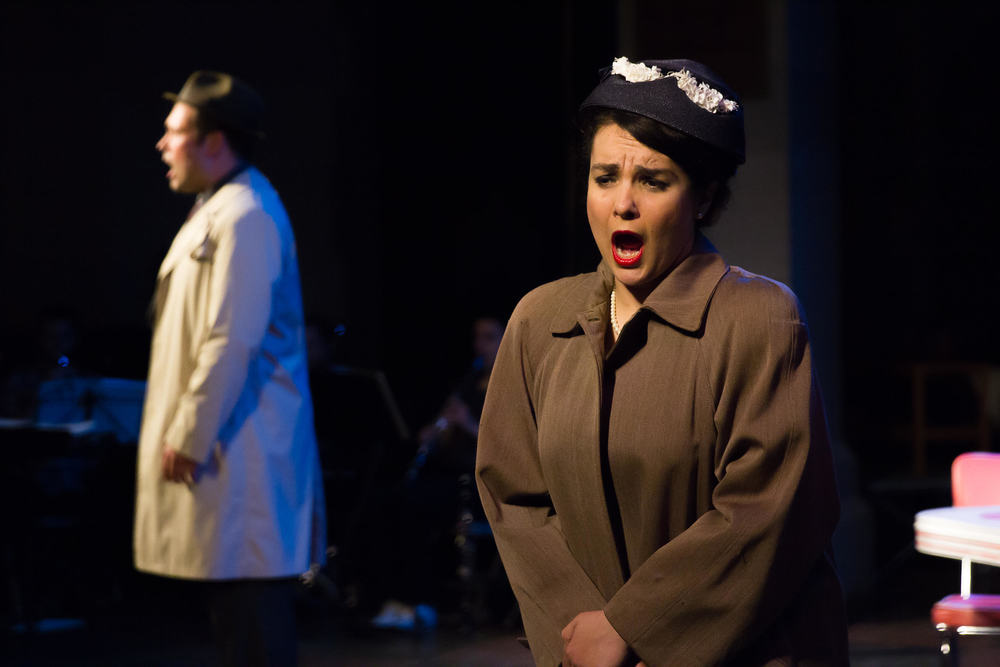 "Dinah (Heather Gallagher) sings in  MetroWest Opera 's ""Trouble in Tahiti"" (Photo Credit:   Jonathan Cole  )."