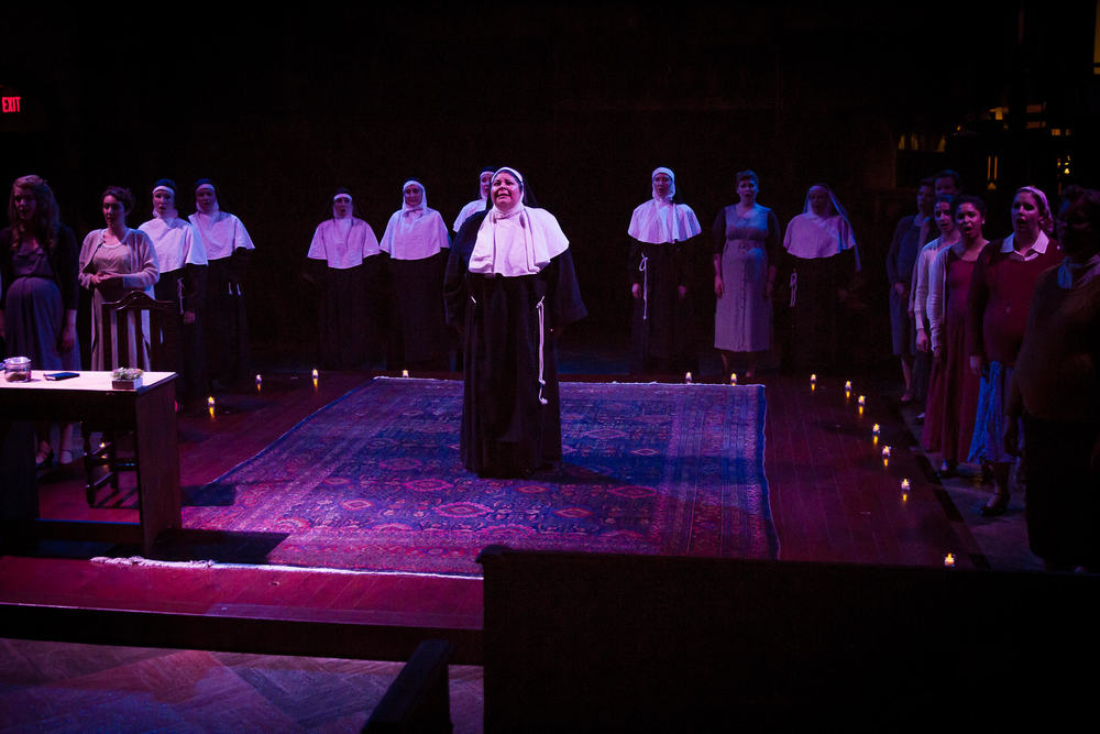 Suor Angelica (Michelle Trainor) with ensemble in Metrowest Opera's  Suor Angelica  (Photo Credit: Jonathan Cole).