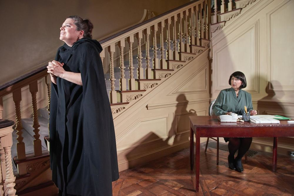 (From Left): Lettice (Cynthia August) and Lotte (Patricia Peterson Jamison) in a scene from Lettice & Lovage (Photo Credit: David Shopper).