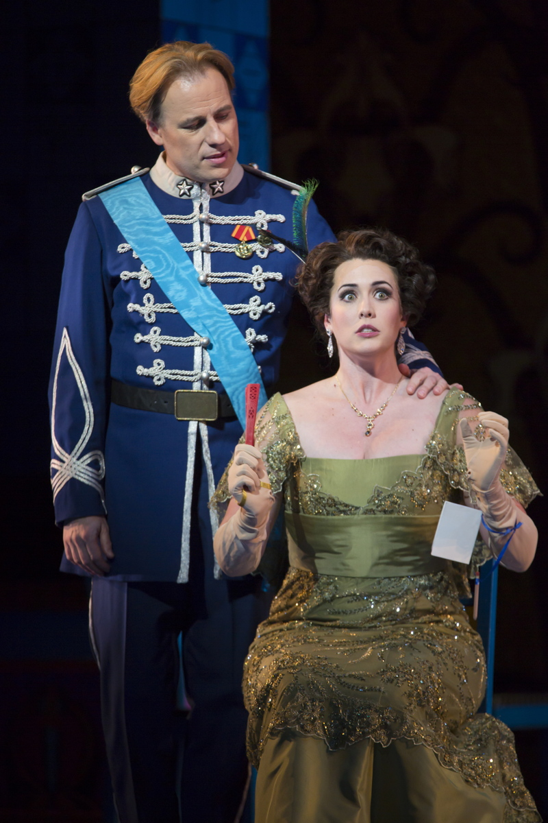 Camille de Rosillon ( JOHN TESSIER) watches  Valencienne Zeta ( CHELSEA BASLER)  in Boston Lyric Opera's new production of  The Merry Widow  (Photo Credit: T. Charles Erickson).