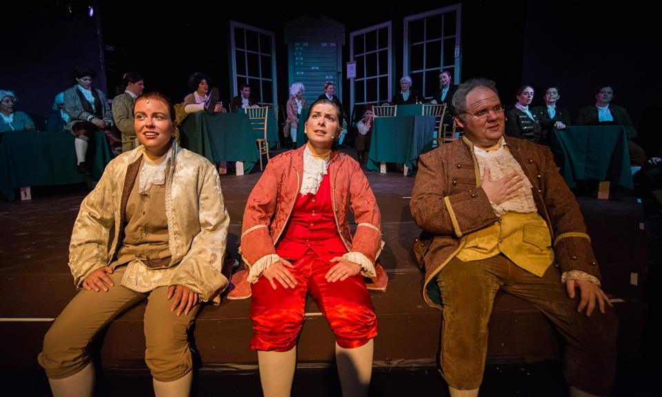 "thomas jefferson, john adams, and benjamin franklin sing about ""the egg"" in Mit gilbert & sullivan players' 1776 (Photo Credit: Eurah joanna ko)."