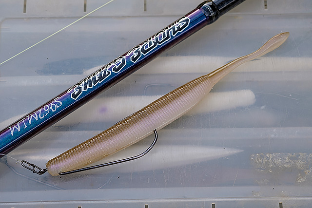 6'' OSP DoLive Stick, wagasaki colour, rigged on a 5/0 Lunker City Texposer Hook