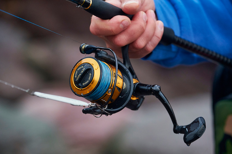 "The new Penn Spinfisher VI 4500 spinning reel, loaded up with 20lb Spiderwire Smooth Stealth 8 braid in the rather nice ""Blue Camo"" colour - because I am a hopeless tackle tart………"