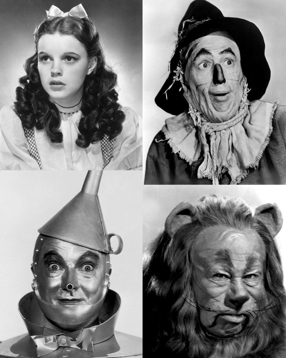 The four characters from the film who will be sculpted in clay: Dorothy, the Scarecrow, the Tin Man and the Cowardly Lion.