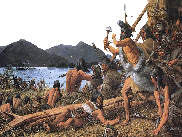 Battle of Sitka (1804) was the last major armed conflict between the Russians and the Tinglit. Painting by Louis S. Glanzman, 1988.