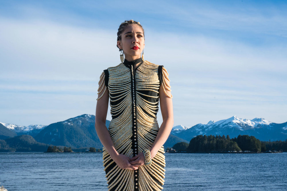 Dress made of salmon bones. Photograph by Bethany Goodrich.