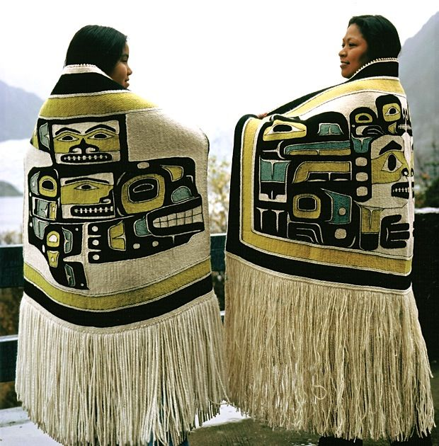Anna Brown Ehlers (right) and her daughter wearing Chilkat blankets woven by Ehlers.