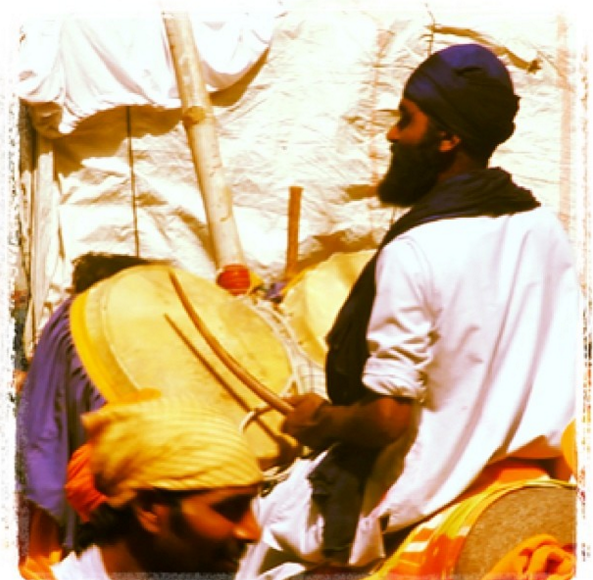 Nagara drum on a horse during hola mahalla hola mohalla