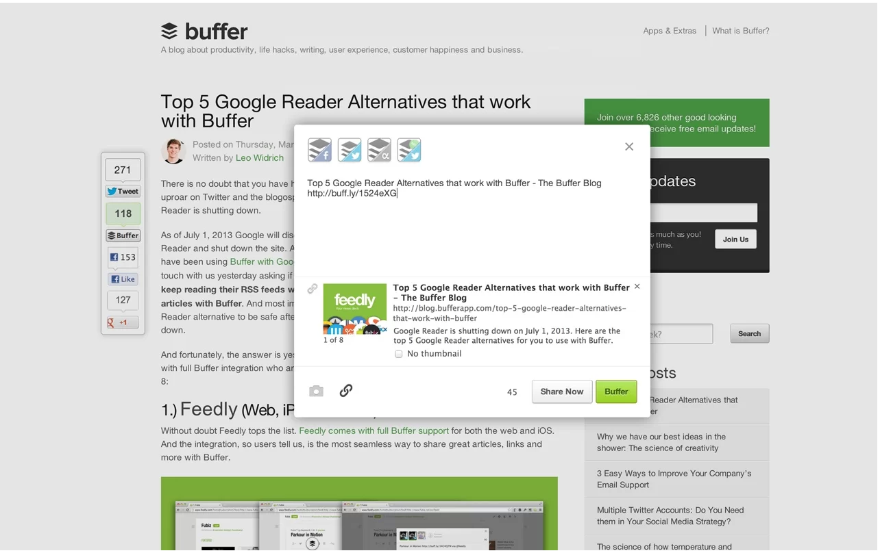 Buffer Chrome Extension