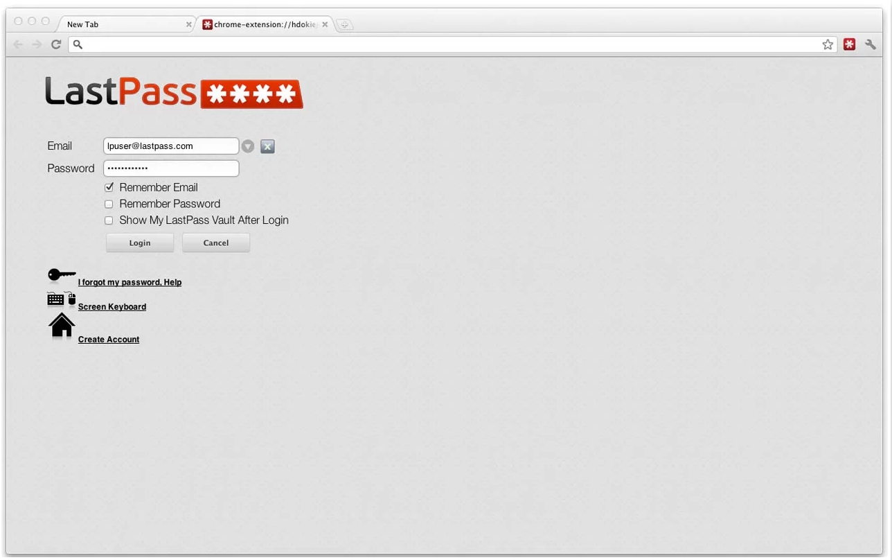 LastPass Chrome Extension