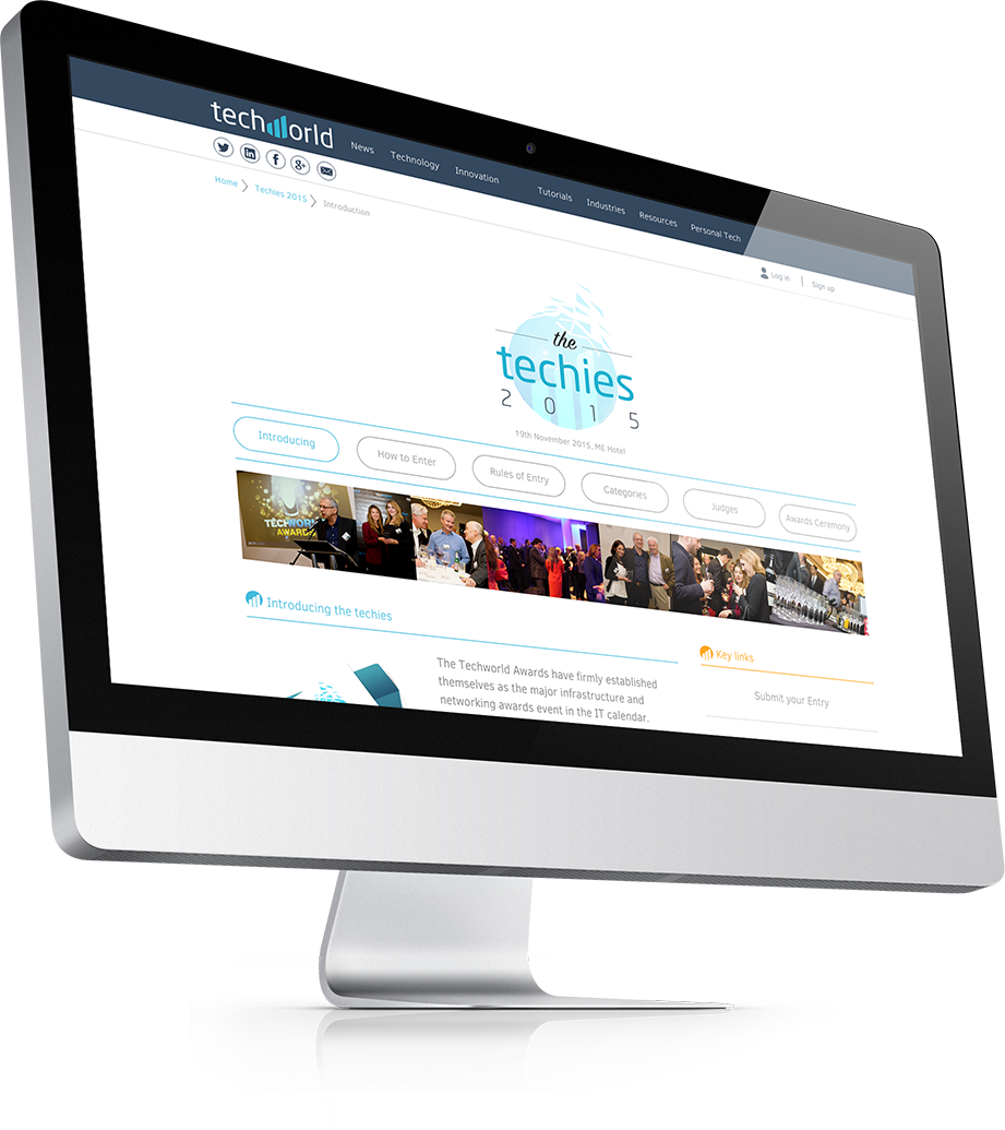 The microsite designed for the awards