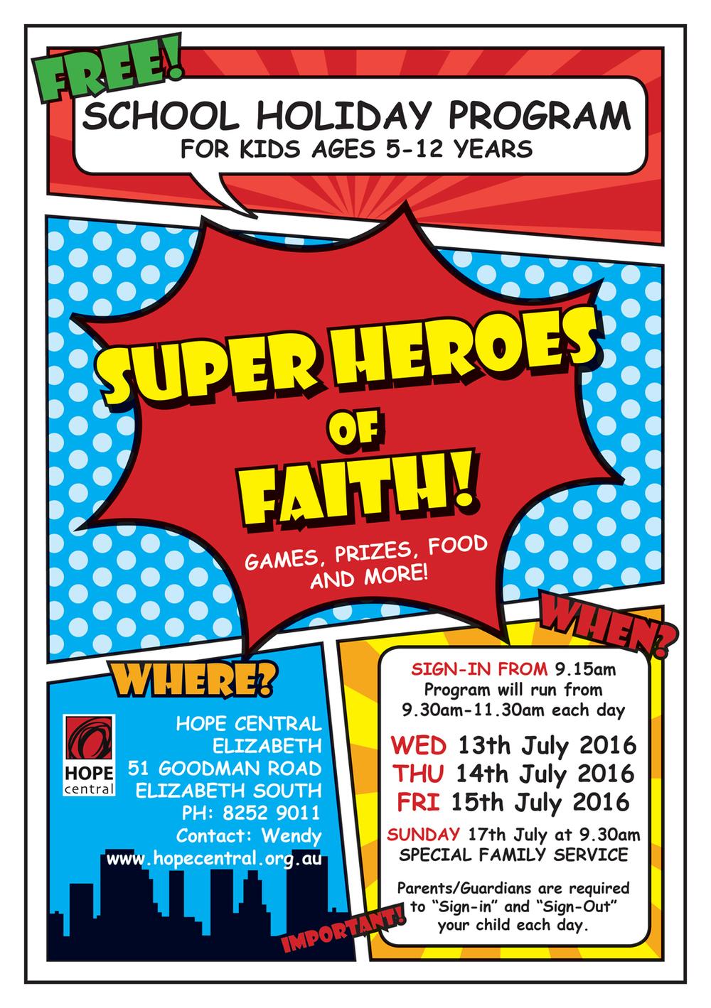 Super Heroes of Faith flyer