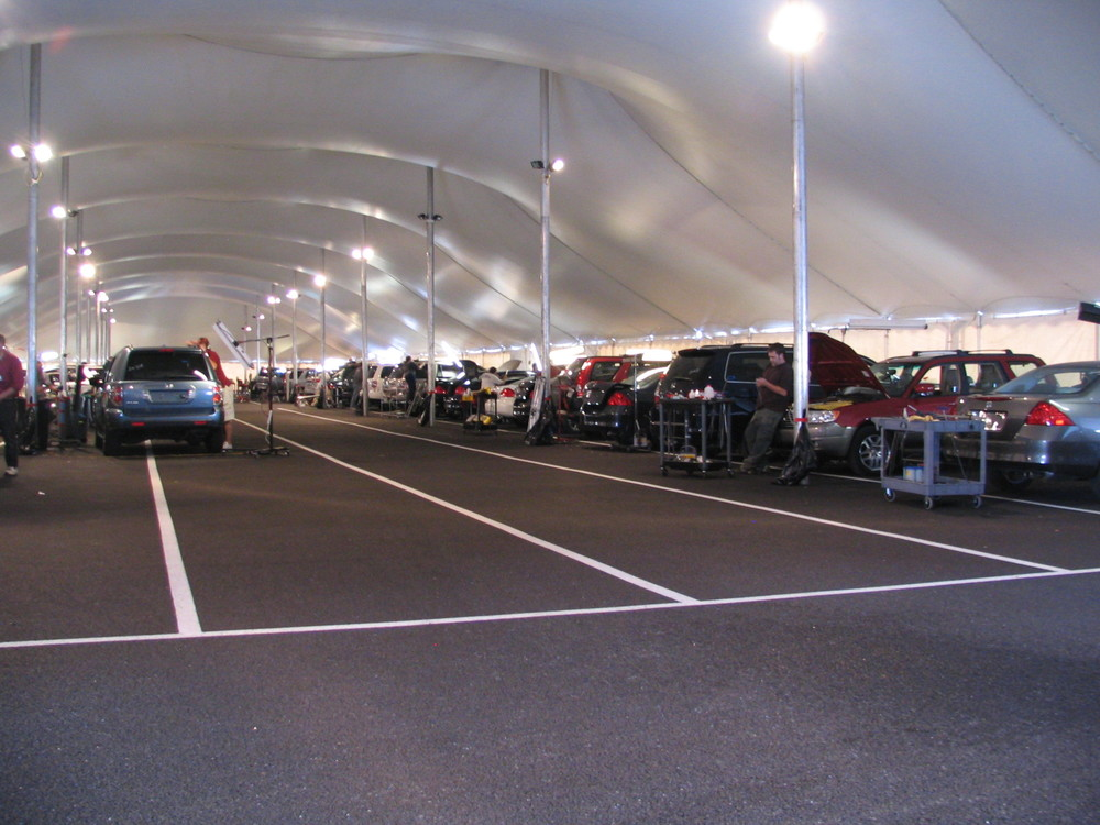 Interior of a Temporary Auto Body Shop Tent