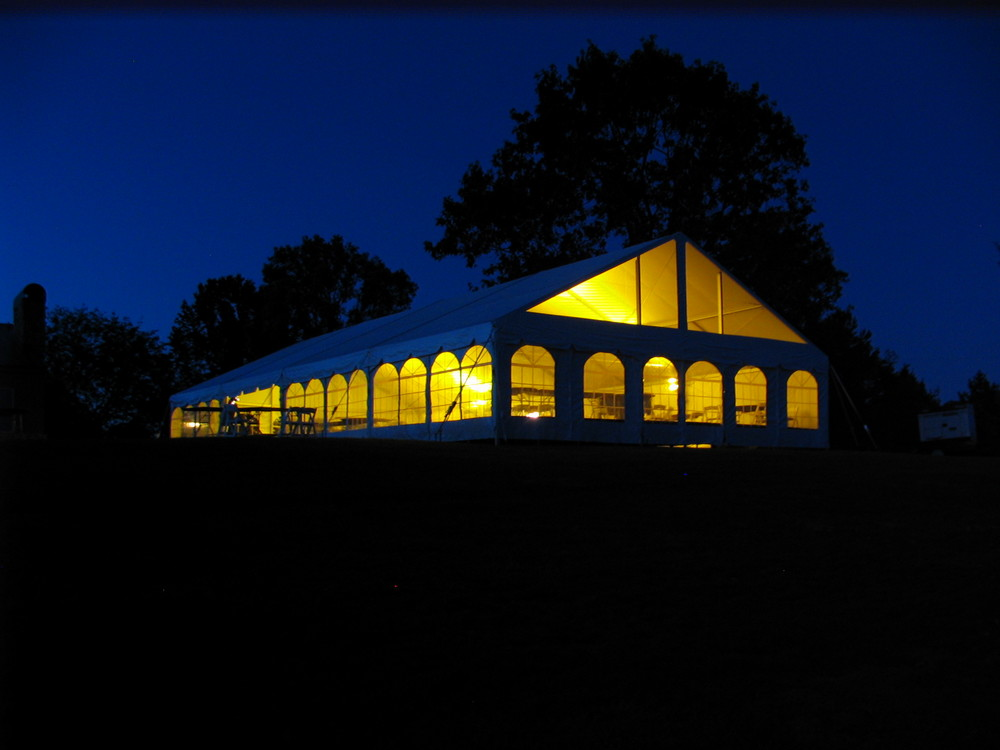 40x80 white frame tent with can lights and cathedral window sidewall