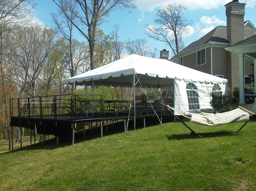 20x30 white frame tent, leveled