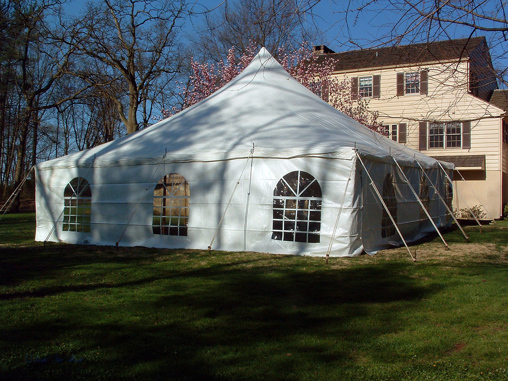 30x30 white tent with cathedral window sidewall