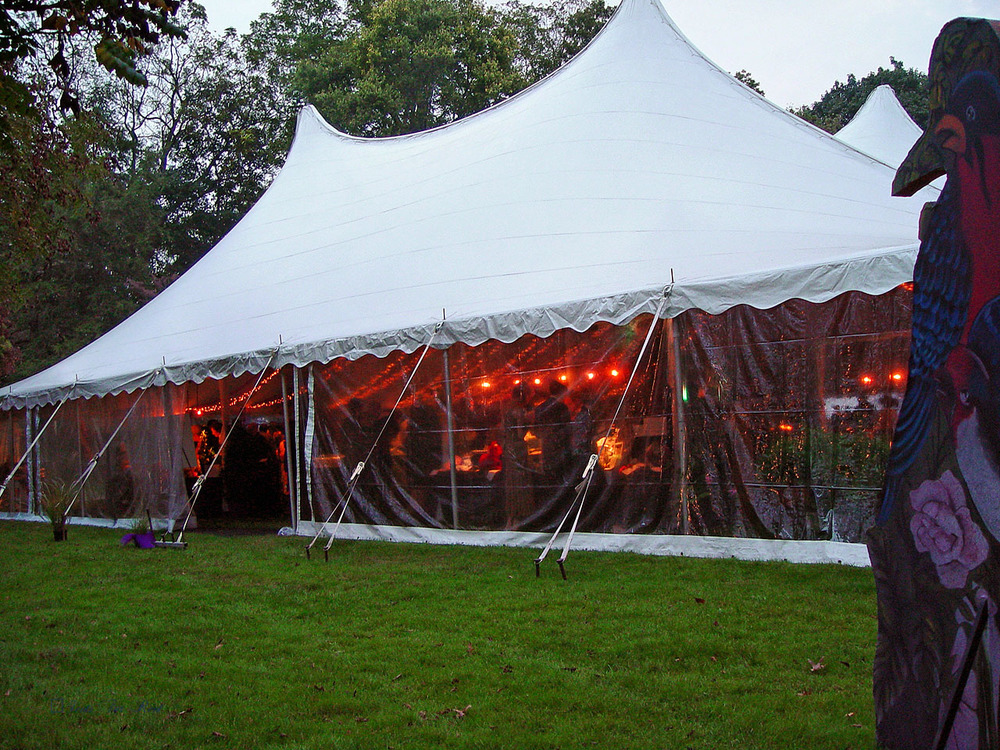 White wedding tent with clear sidewall
