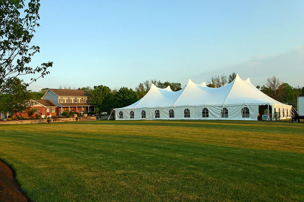 60x100 white tent with cathedral window sidewall