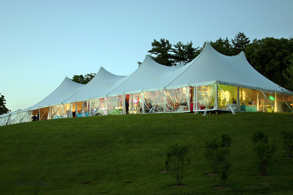 60x130 white party tent with clear sides
