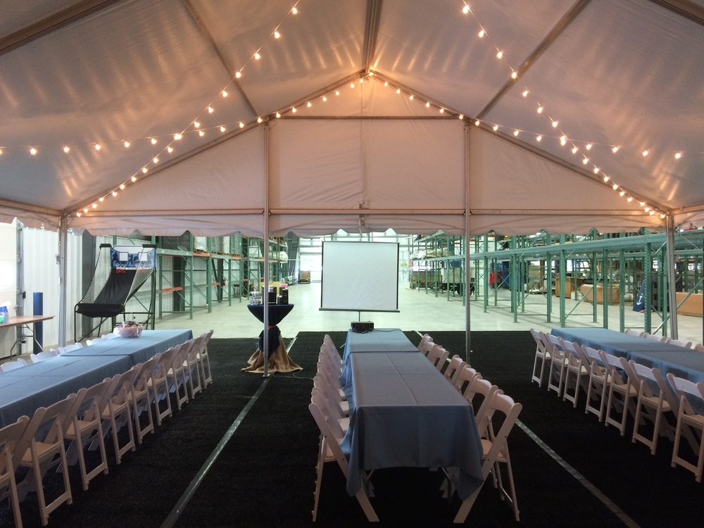 Rented tent carpeting