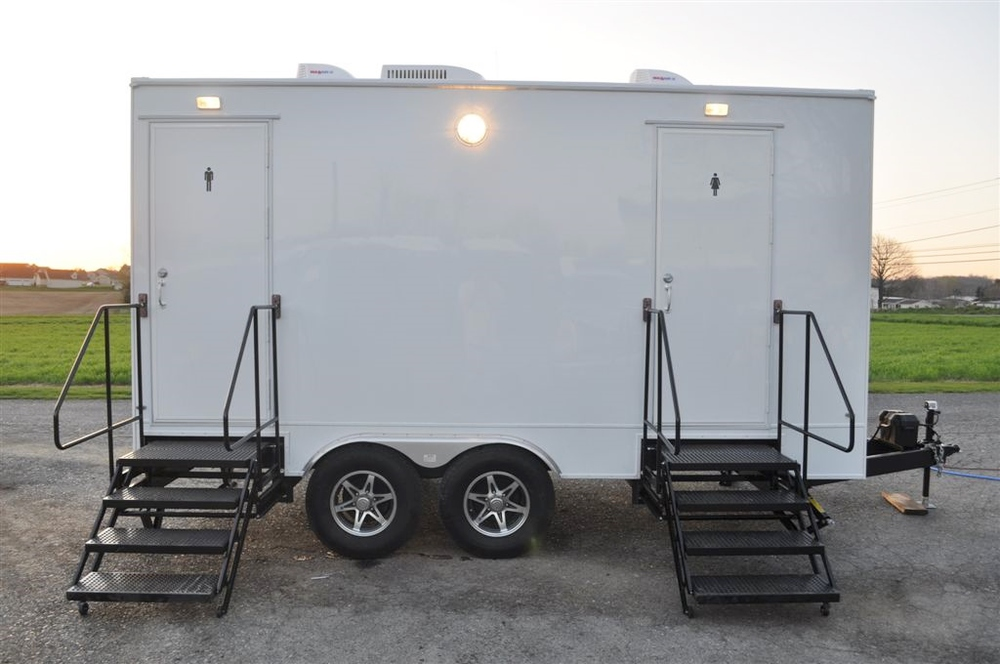 Four person restroom trailer for rent