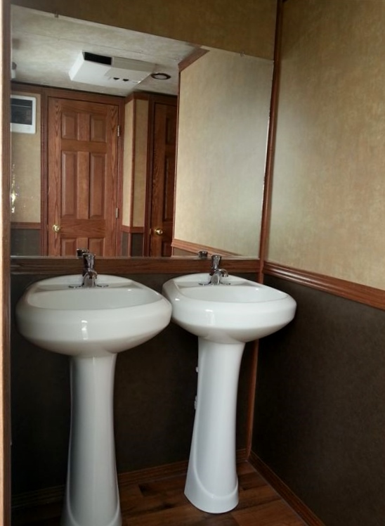 Six person restroom trailer for rent