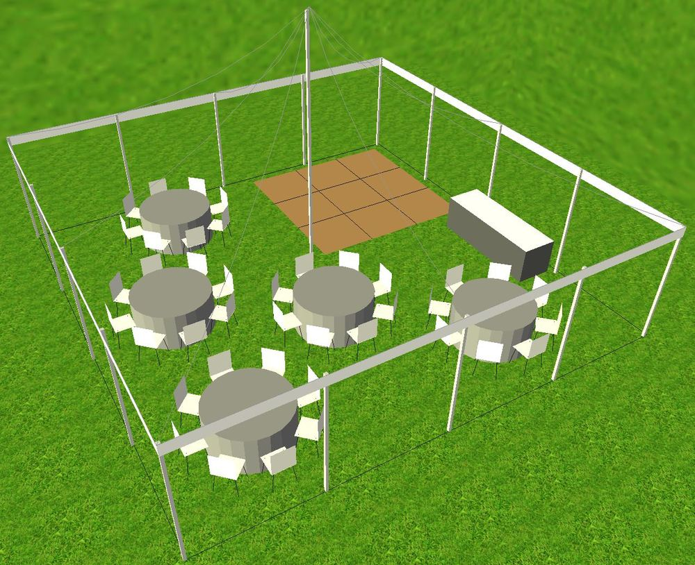 30x30 tent dance floor layout