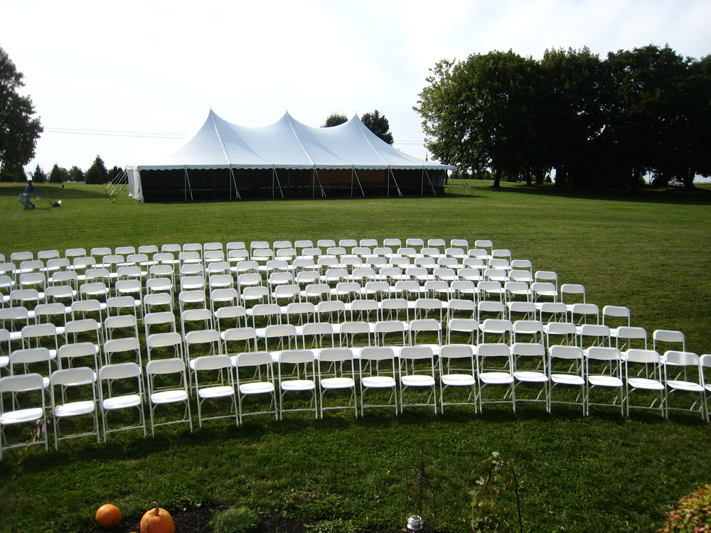 White folding chairs for rent in Pine Grove, PA