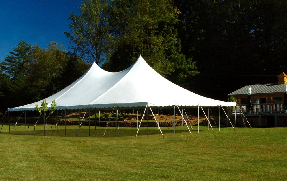 White wedding tent with open side walls