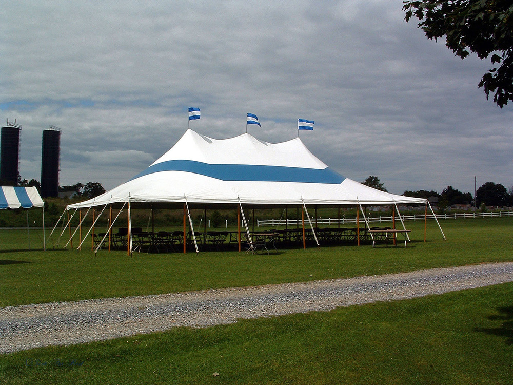 30x50 blue and white tent with no sidewalls