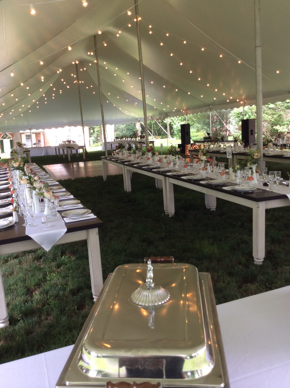 Wedding reception with farm tables