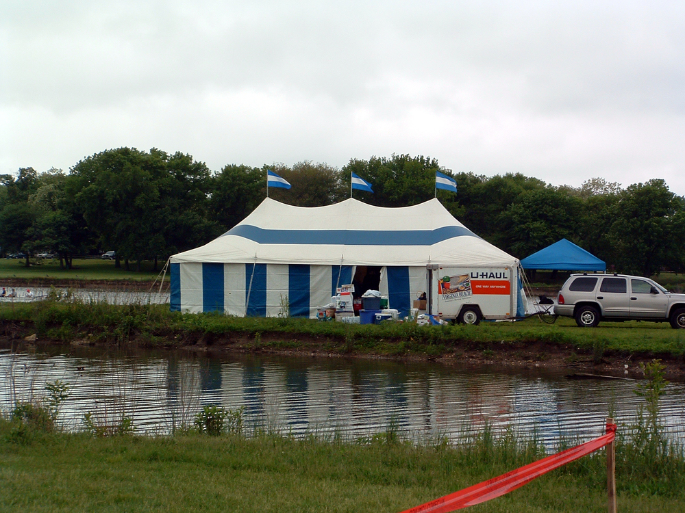 Tent installed on an island