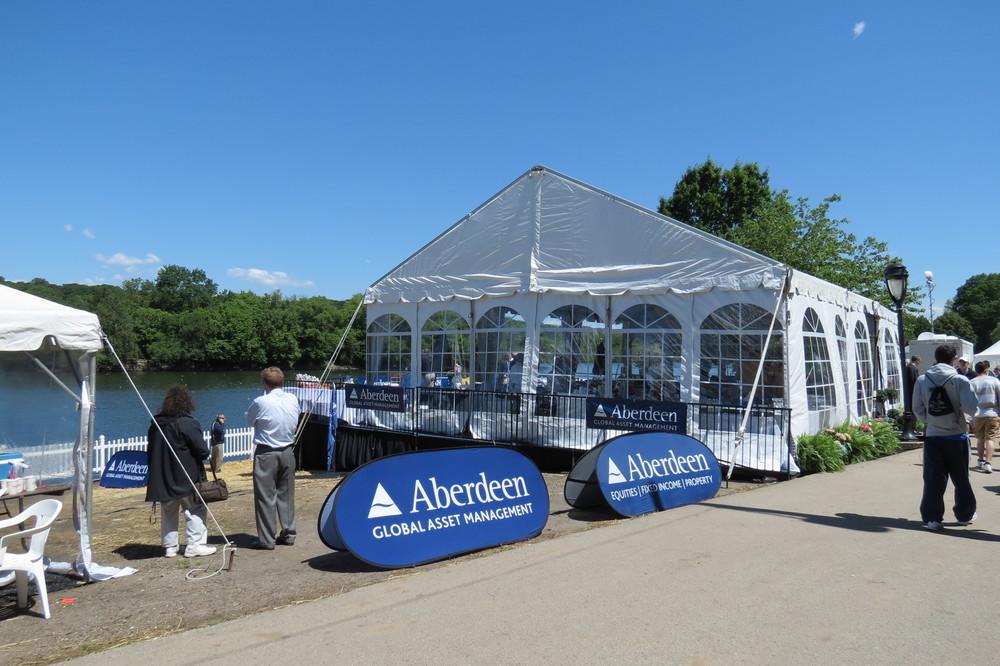 Tent on raised platform/stage