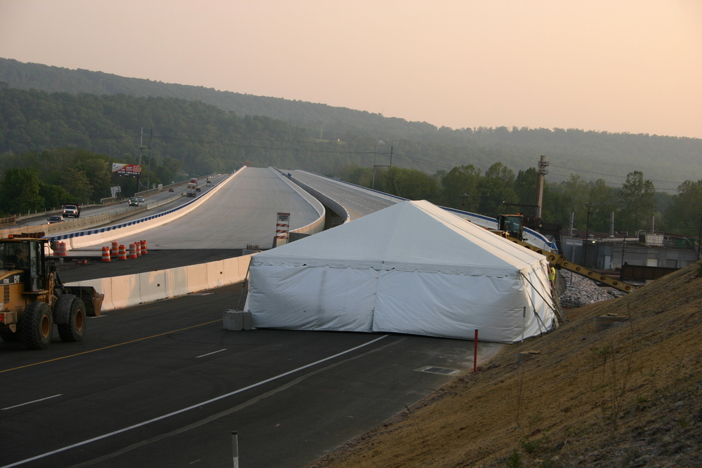 Tent on the Pennsylvania Turnpike