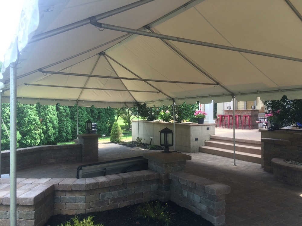 Tent over a paver patio