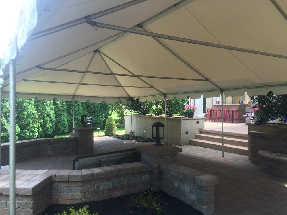 Tent over a paver patio