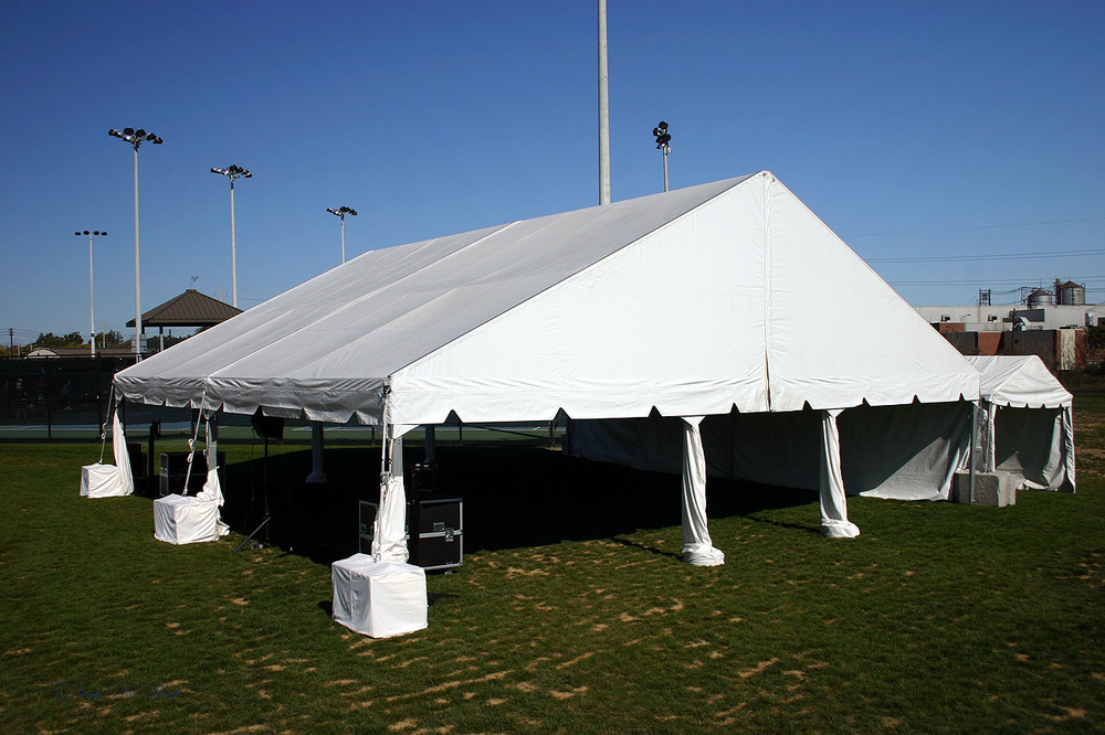 This tent could not be secured with stakes due to underground utilities. & Can tents be installed on asphalt or concrete? u2014 Tent Rentals ...