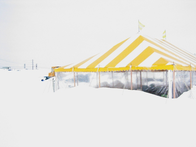 Heated tent in the winter