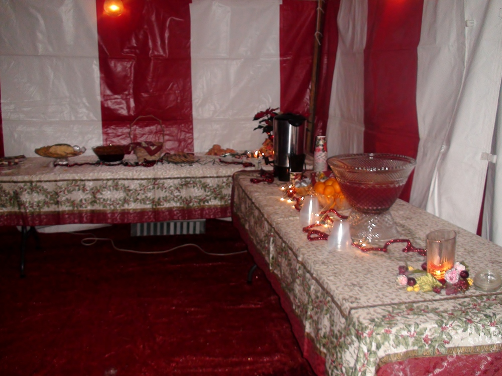 Outdoor Christmas party in a heated tent