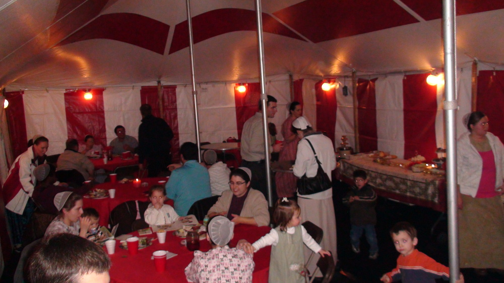 Winter Christmas party in a heated tent