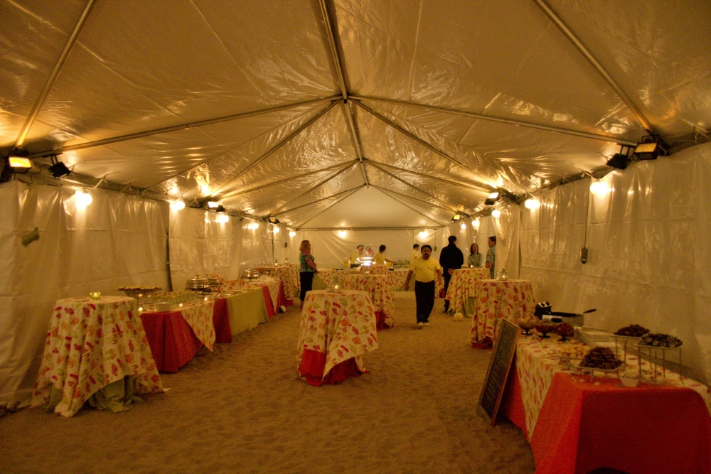 Winter beach party in a tent