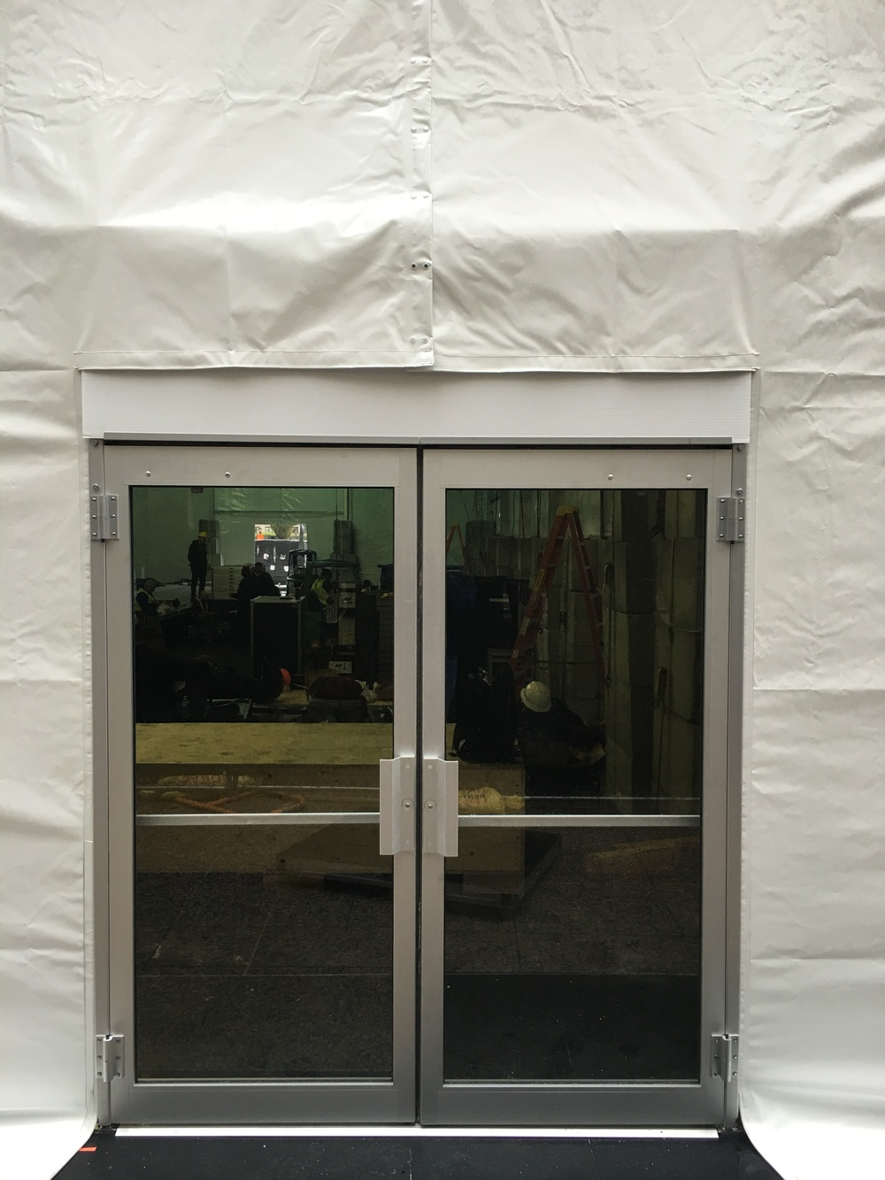 One of three tent exit doors